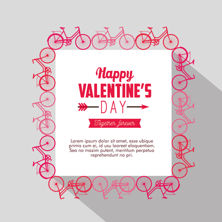 bicycles frame decoration to valentine day card vector illustration