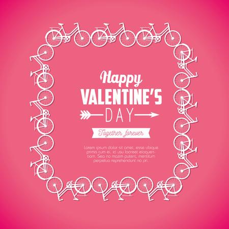 bicycles frame decoration to valentine celebration vector illustration