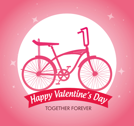 bicycle vehicle to celebrate valentine day vector illustration