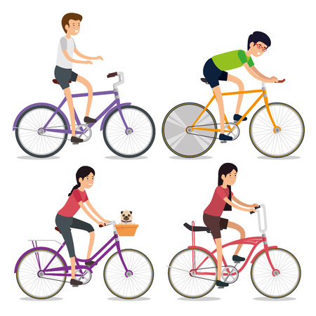 set women and men ride bicycle sport vector illustration