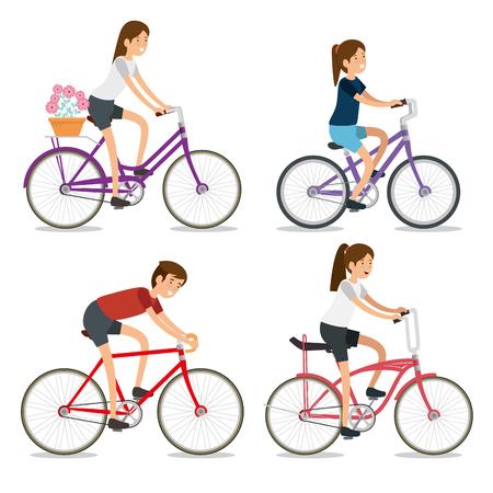 Establecer mujeres y hombres andan en bicicleta deporte ilustración vectorial