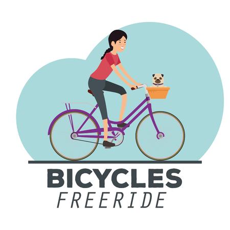 woman ride bicycle lifestyle sport vector illustration  イラスト・ベクター素材