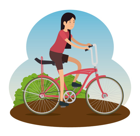 woman ride bicycle transport design vector illustration