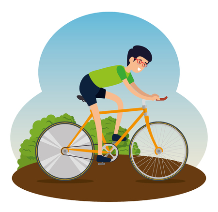 man ride bicycle lifestyle sport vector illustration