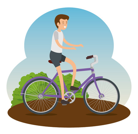 man ride bicycle transport vehicle vector illustration