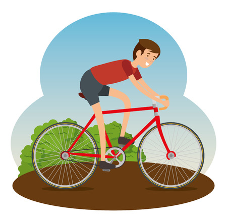 man ride bicycle vehicle to do exercise vector illustration Ilustrace