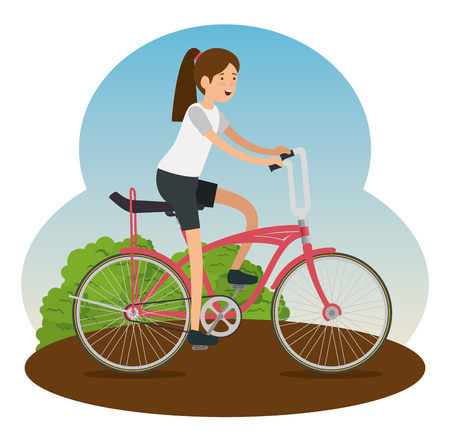 woman ride bicycle vehicle to do sport vector illustration 일러스트
