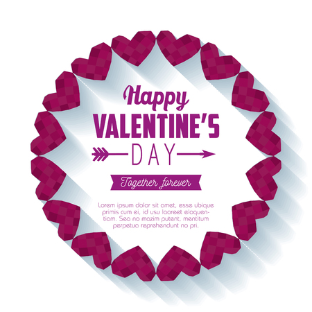 circle hearts frame to valentine day vector illustration