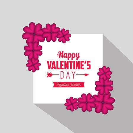 valentine love card with flowers decoration vector illustration Ilustrace