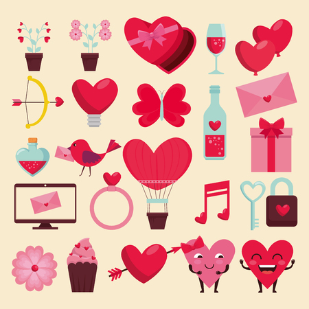 set happy valentine decoration to celebration event vector illustration