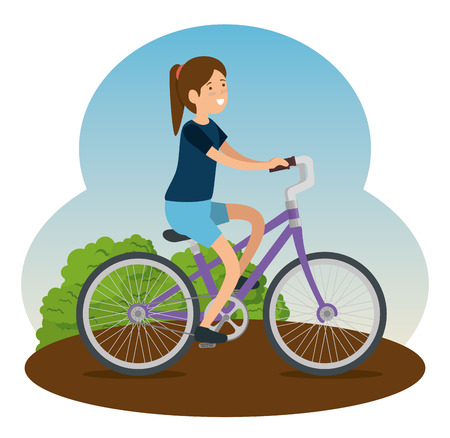 woman ride bicycle vehicle to do exercise vector illustration Illustration
