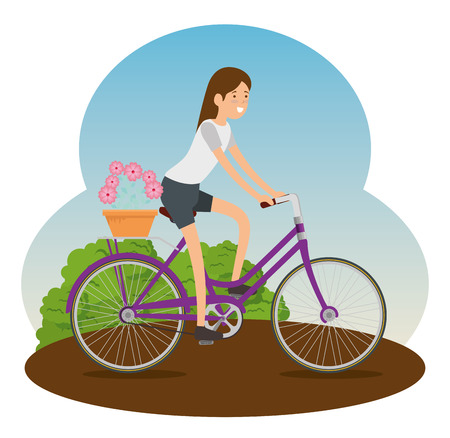 woman ride bicycle transport to do exercise vector illustration Ilustrace