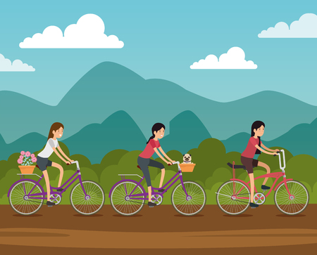 women friends ride bicycle transport vector illustration