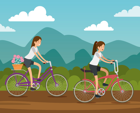 friends women ride bicycle to do exercise vector illustration