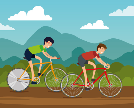 friends men ride bicycle to do exercise vector illustration