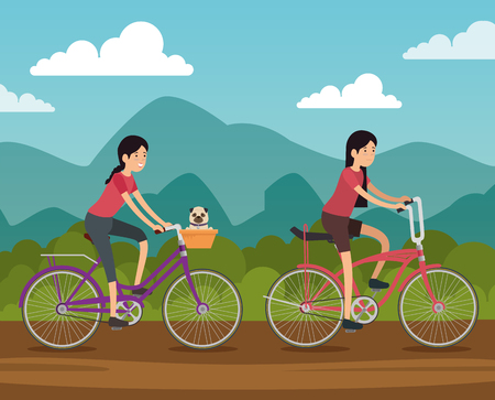women friends ride bicycle vehicle to do exercise vector illustration Ilustrace