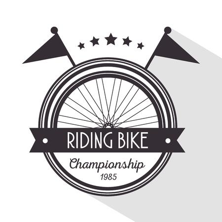 bicycle emblem to champion ship sport vector illustration