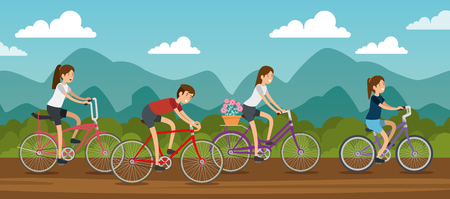 women and man friends ride bicycle vector illustration Ilustrace