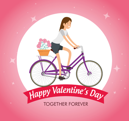woman ride bicycle to celebrate valentine day vector illustration