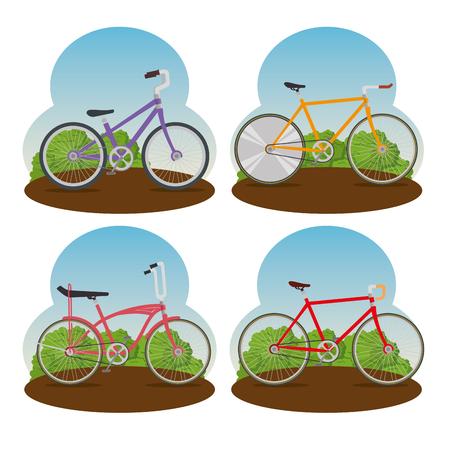 set bicycle transport lifestyle vehicle vector illustration