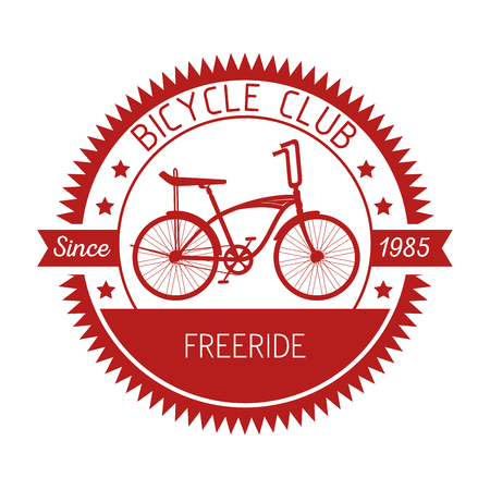 bicycle emblem with mechanical and shop service vector illustration Ilustrace