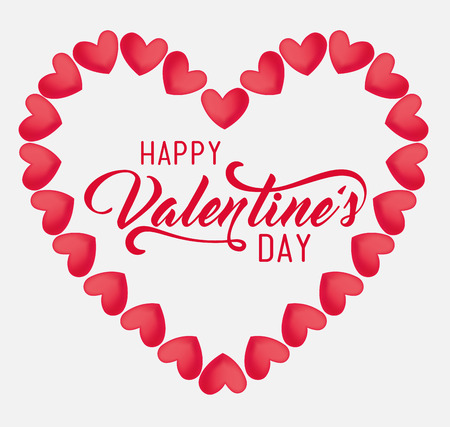 heart shape to valentine day celebration and hearts decoration vector illustration
