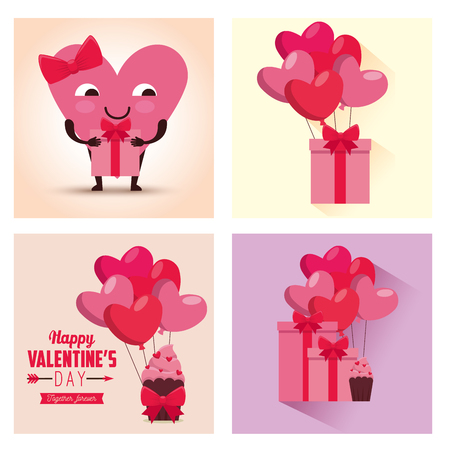 set valentine day celebration with hearts balloons and gifts vector illustration