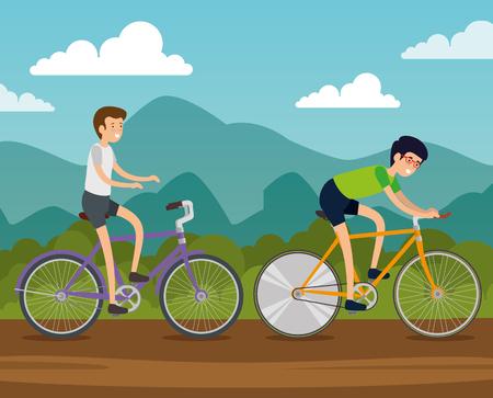 men friends ride bicycle vehicle vector illustration Ilustrace
