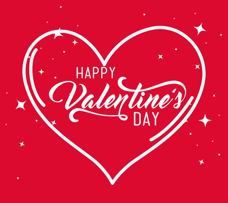 valentine day with heart shape decoration vector illustration