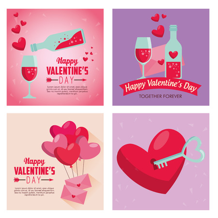 set valentine day with love potion and hearts balloons vector illustration