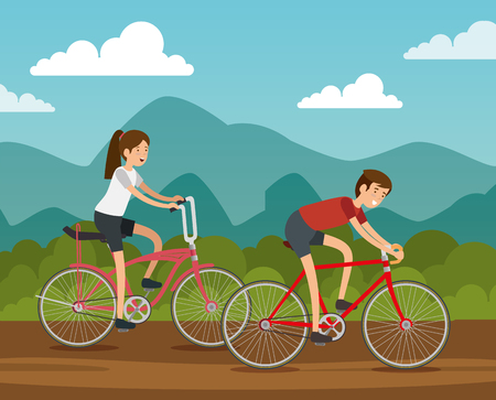 man and woman friends ride bicycle vector illustration