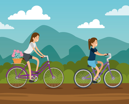 women friends ride bicycle vehicle vector illustration