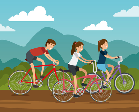 friends women and man ride bicycle vector illustration