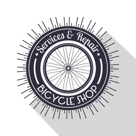 bicycle emblem shop with service and repair vector illustration Ilustrace