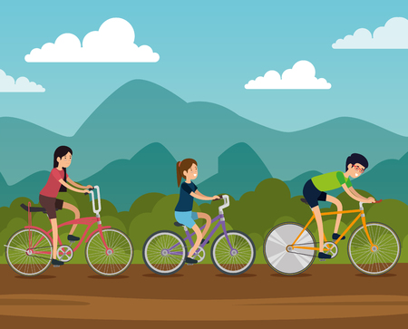 friends women and man ride bicycle transport vector illustration