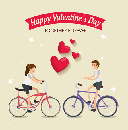 woman and man ride bicycle to valentine day vector illustration