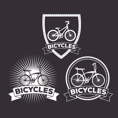 set bicycle emblem lifestyle transport vector illustration