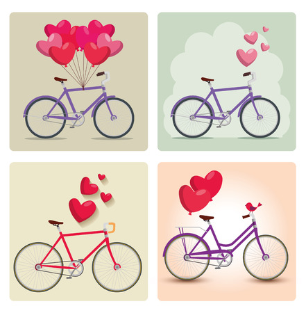 set bicycle transport with hearts balloons decoration vector illustration