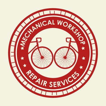 bicycle emblem shop with mechanical service vector illustration Vectores