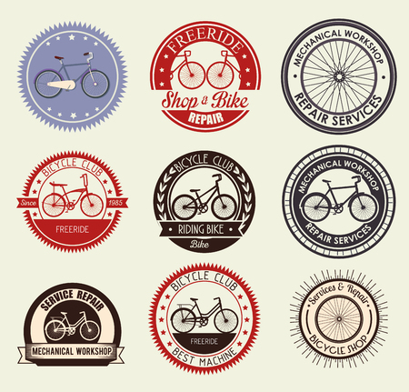 set bicycle emblem with shop and mechanical service vector illustration