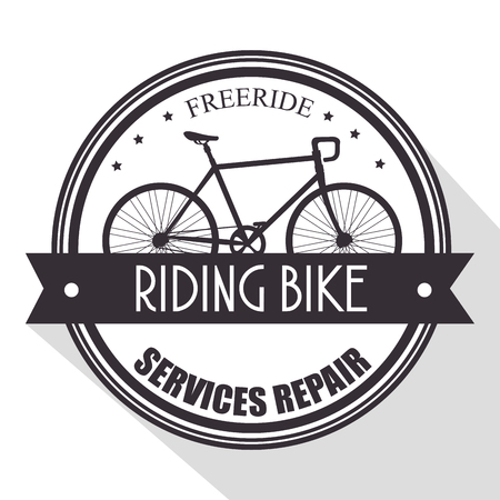 bicycle shop emblem with service repair vector illustration