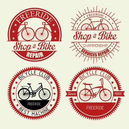 set bicycle shop emblem with repair service vector illustration Illustration