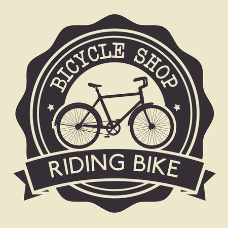 bicycle shop emblem with shop service vector illustration