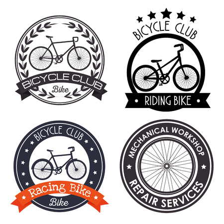 set bicycle mechanical emblem with repair service vector illustration Ilustrace
