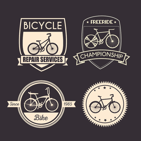 set bicycle emblem with mechanical and shop service vector illustration Vectores