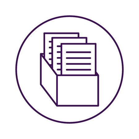 box with documents office icons vector illustration design