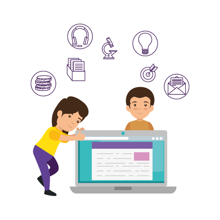 laptop with students and elearning icons vector illustration design Banque d'images - 126772697