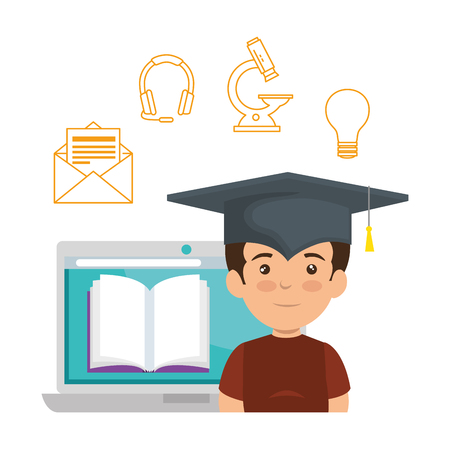 laptop with schoolboy and elearning icons vector illustration design
