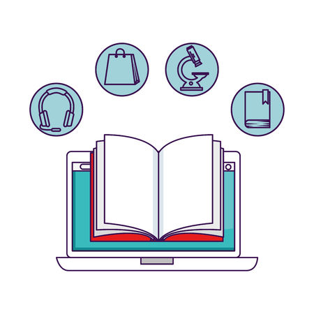 laptop with elearning icons vector illustration design