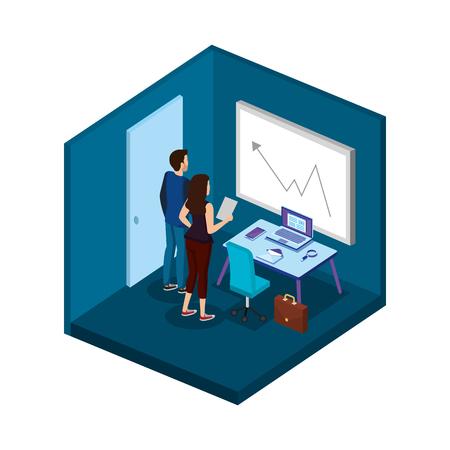 business couple in the office scene vector illustration design Illustration